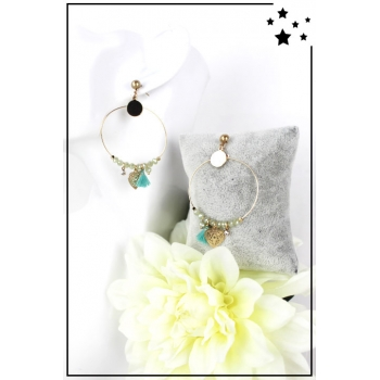 Boucle d'oreille - Anneau, perles et breloques - Bleu et vert