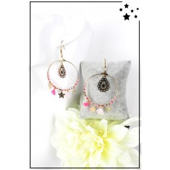Boucle d'oreille - Anneau, perles et breloques - Rose