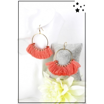 Boucle d'oreille - Grand anneau et pampilles - Corail