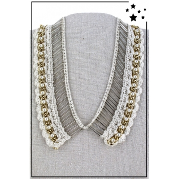Collier col - Perles et broderies