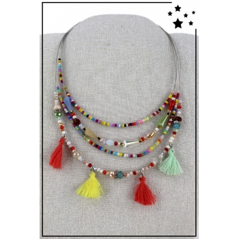 Collier multirang  en nylon - Perles et pampilles - Multicolor