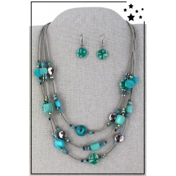 Parure boucles d'oreille et collier multirang - Turquoise