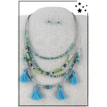 Parure boucles d'oreille et collier multirang - Bleu et vert