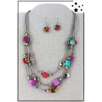 Parure boucles d'oreille et collier multirang - Multicolor