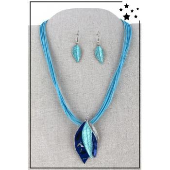 Parure boucles d'oreille et collier - Plumes - Bleu