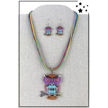 Parure boucles d'oreille et collier - Chouette - Multicolor