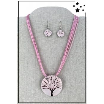 Parure boucles d'oreille et collier - Arbre de vie - Rose