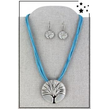 Parure boucles d'oreille et collier - Arbre de vie - Bleu