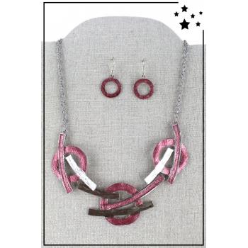 Parure boucles d'oreille et collier - Arcs et cercles - Rose