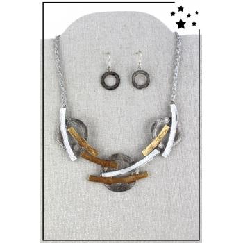 Parure boucles d'oreille et collier - Arcs et cercles - Argenté et doré