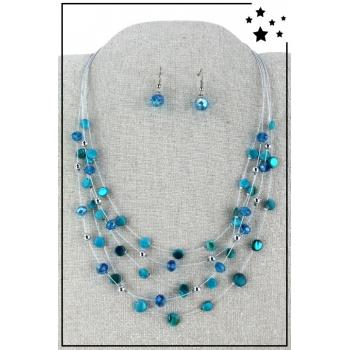 Parure boucles d'oreille et collier - Multirang nylon et perles - Bleu