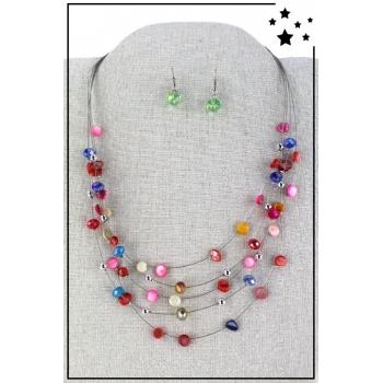 Parure boucles d'oreille et collier - Multirang nylon et perles - Multicolor