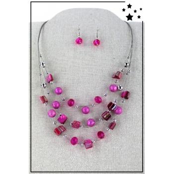 Parure boucles d'oreille et collier - Multirang nylon et perles - Rose