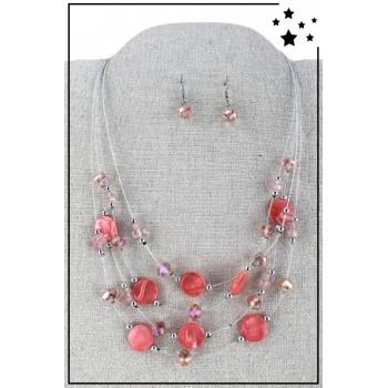 Parure boucles d'oreille et collier - Multirang nylon et perles - Corail