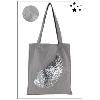 Tote Bag - 100% coton - Modèle Angel - Gris