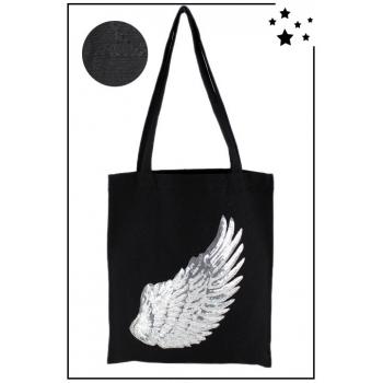 Tote Bag - 100% coton - Modèle Angel - Noir