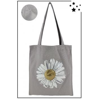 Tote Bag - 100% coton - Modèle Daisy - Gris