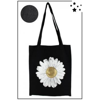 Tote Bag - 100% coton - Modèle Daisy - Noir