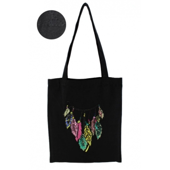 Tote Bag - 100% coton - Modèle Cherokee - Noir