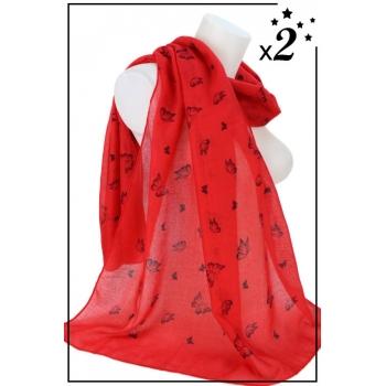 Foulard - Motif papillons - Rouge - x2