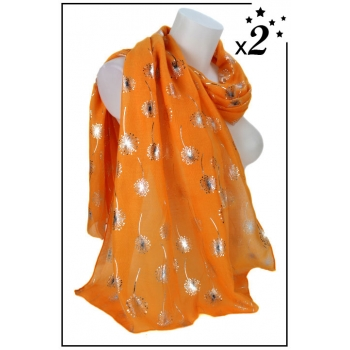 Foulard - Motif pissenlit - Orange - x2