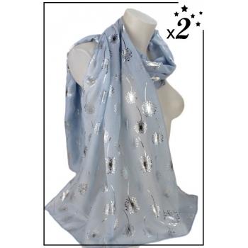 Foulard - Motif pissenlit - Bleu ciel - x2