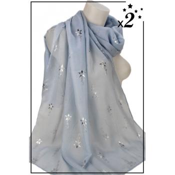 Foulard - Motif étoile filante - Bleu ciel - x2