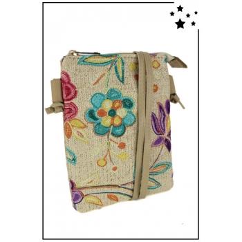 Pochette raphia - Bandoulière - Fleurs brodées - Ecru