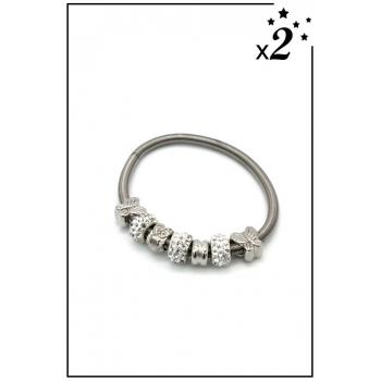 Bracelet charms - Papillon et strass - Blanc - x2