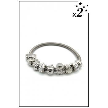 Bracelet charms - Réveil, enfant et strass - Blanc - x2
