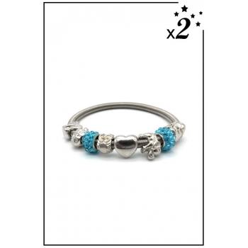 Bracelet charms - Eléphant, coeur et strass - Turquoise- x2