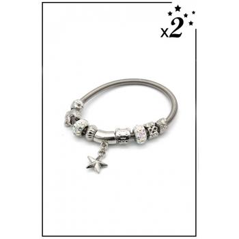 Bracelet charms - Pendentif étoile, ours et strass - Blanc - x2