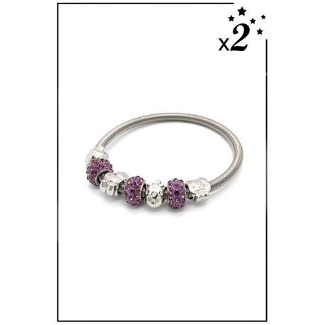 Bracelet charms - Ours, fraise et strass - Violet - x2