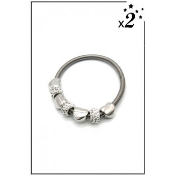 Bracelet charms - Coeurs et strass - Blanc - x2