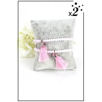 Bracelet perles - Charm et pampille - Rose - x2