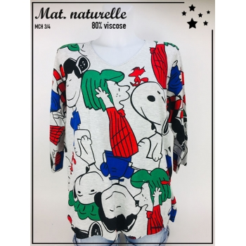 Pull TU 36 au 44 - Manche 3/4 - Col V - Illustration Snoopy colorée - Gris