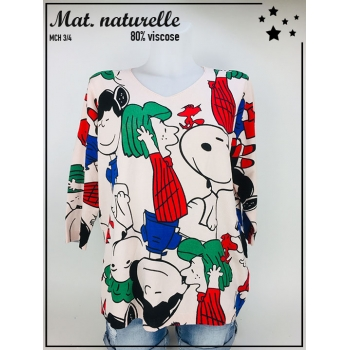 Pull TU 36 au 44 - Manche 3/4 - Col V - Illustration Snoopy colorée - Rose pâle