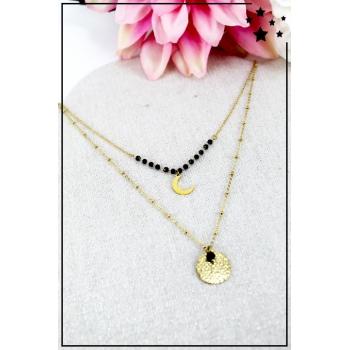 Collier multirang - Croissant de lune - Perles noires
