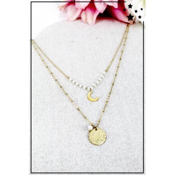 Collier multirang - Croissant de lune - Perles blanches