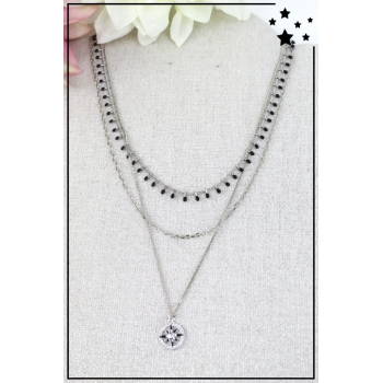 Collier multirang - Rose des vents - Argenté