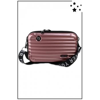 Petit sac bandoulière - Mini valise rigide - Rose gold