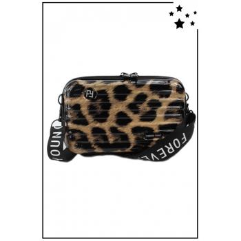 Petit sac bandoulière - Mini valise rigide - Léopard