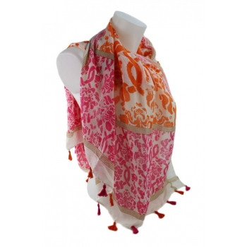 Foulard - Motifs et pompons - Rose et orange