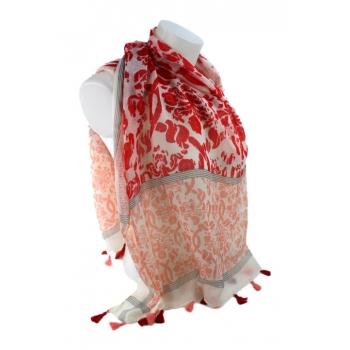 Foulard - Motifs et pompons - Rouge