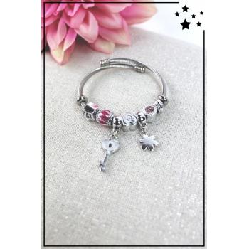Bracelet clips et charms - Charms clé et fleur - Rose vif