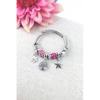 Bracelet clips et charms - Charms fleur, arbre de vie et étoile - Rose vif