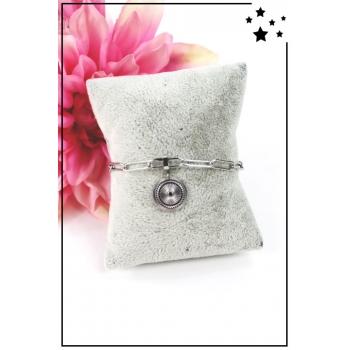 Bracelet maillons larges - Médaillon - Argenté