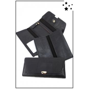 Porte-monnaie - Grand modèle - Compartiment détachable - Noir