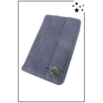 Porte-monnaie - Petit modèle  - Breloque feuille - Bleu