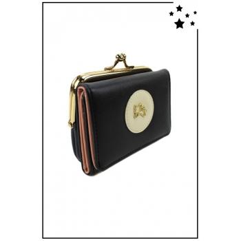 Porte-monnaie - Petit modèle - Clic-clac - Chat doré - Noir